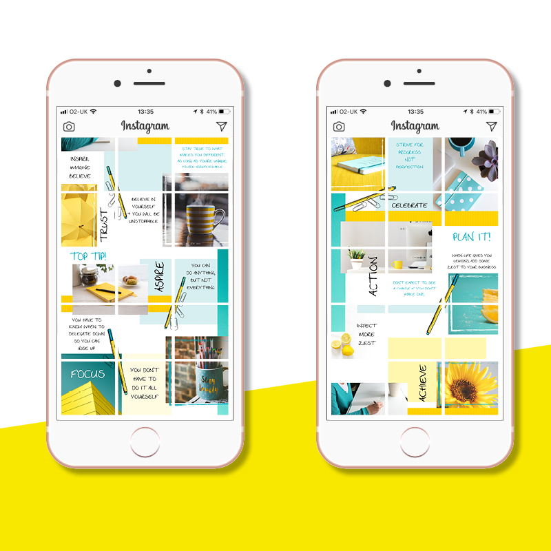 Instagram Puzzle Grids: Yellow & Teal - Vicki Nicolson | Branding and Logo  Designer | Graphic Designer | Graphic Design Services for Female
