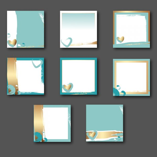 Social media post templates gold and mint