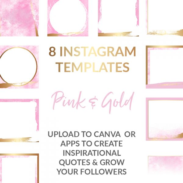 Social Media Templates in Pink and Gold