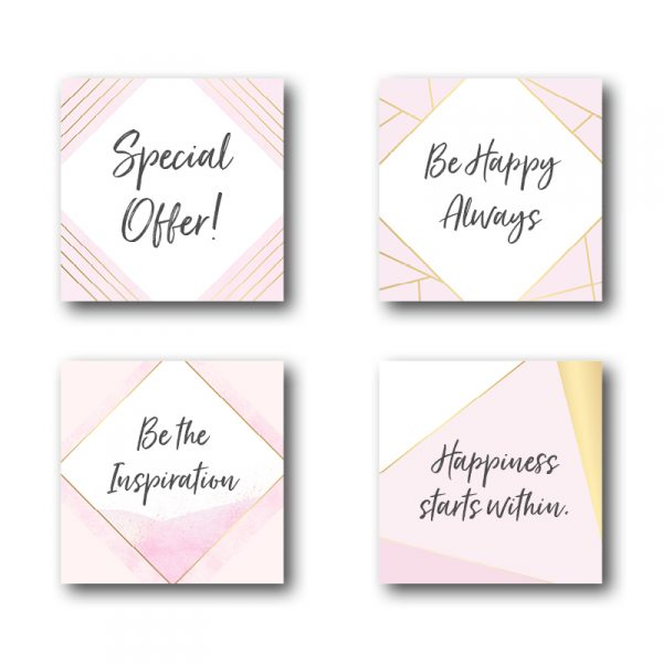 Pink and Gold Geometric Pattern Social Posts