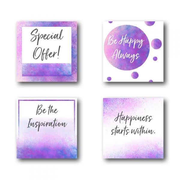 Purple and Blue Watercolour Social Media Templates