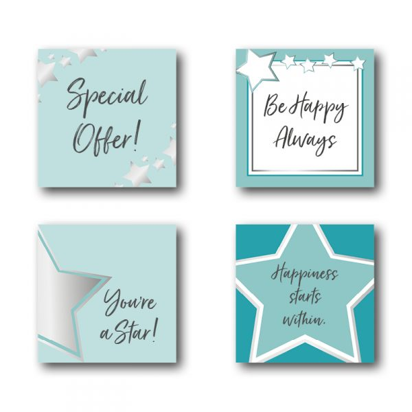 Silver and Teal Star Social Media Posts