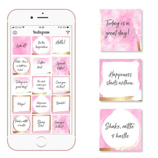 Pink and Gold Social Media Templates