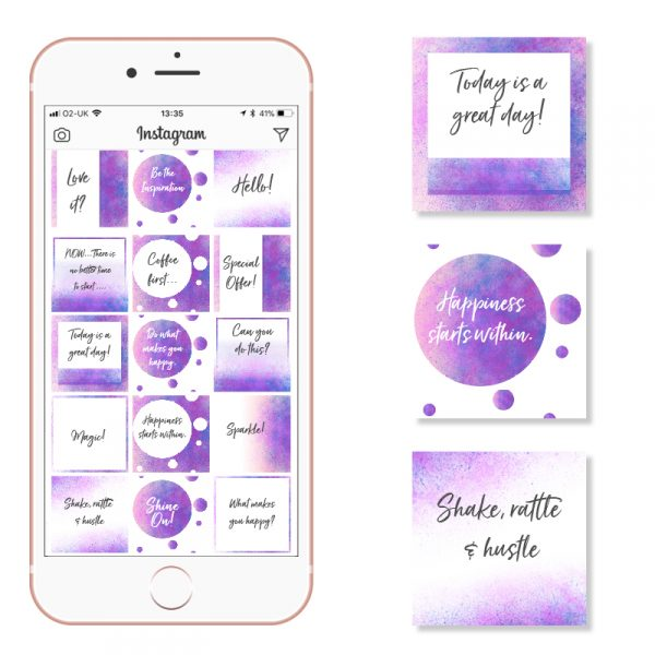 Purple and Blue Watercolour Social Media Posts