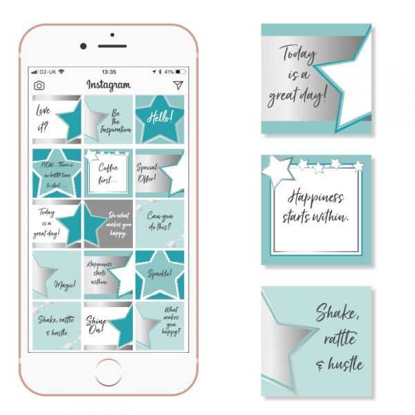 Silver and Teal Social Media Posts