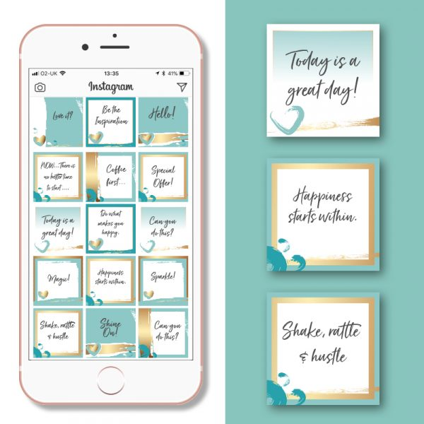 Mint, white and gold heart social media posts templates