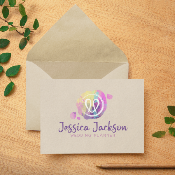 Wax Seal Watercolour Logo in Pink Teal Brights