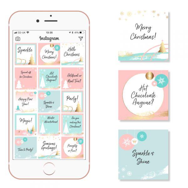 Pink Teal and Gold Christmas Social Media Posts