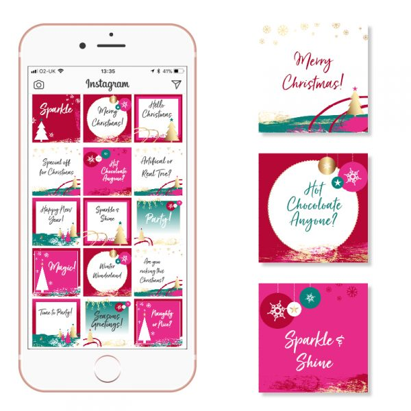 Pink Teal and Gold Christmas Social Media Posts Red Green Pink