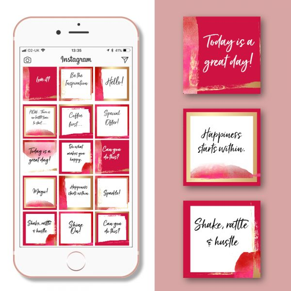 Social Media Post Template Red & Gold