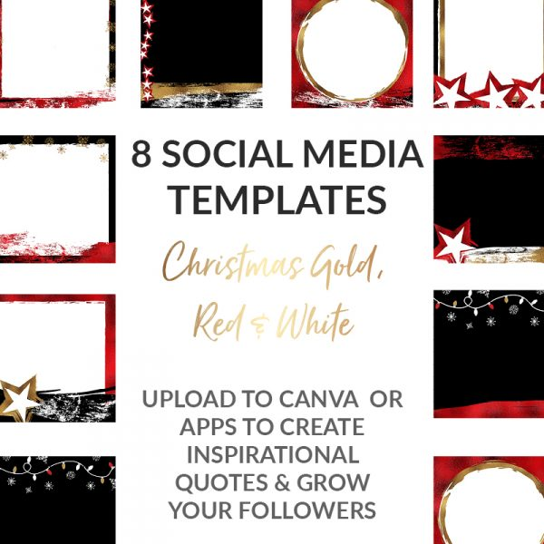 Social media templates gold and red