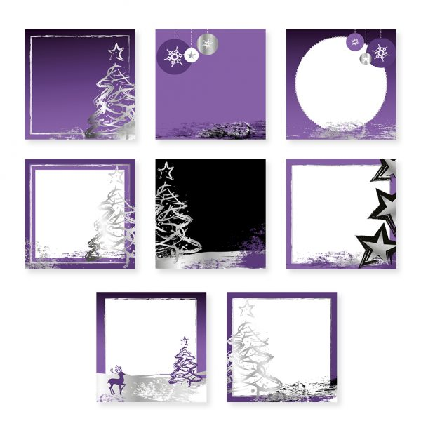 Purple and Silver Social Media Templates