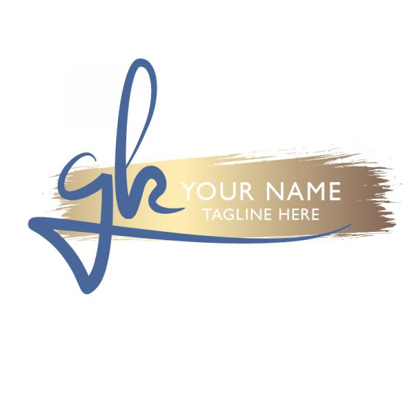 Initials logo in blue and gold