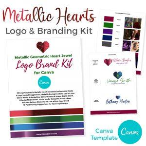 Metallic Heart Branding Canva Template