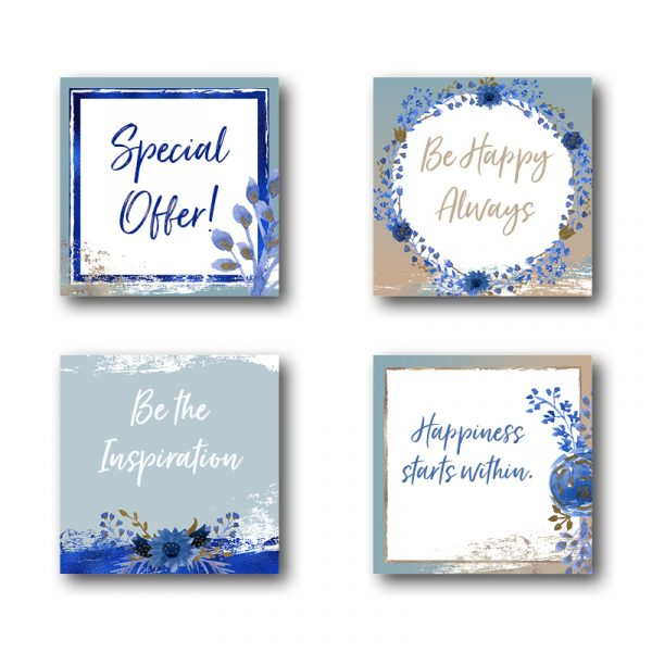 blue and champagne social media templates