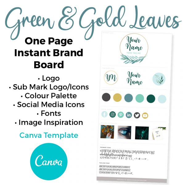 Green and Gold Leaves Brand Board Template for Canva