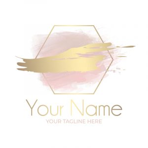 blush and gold small business logo