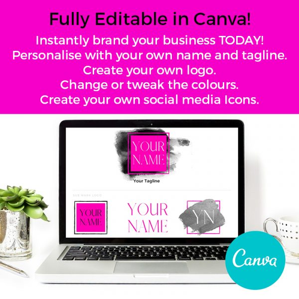 premade branding board pink and black