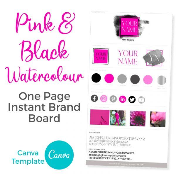 Pink & Black Watercolour Brand Board