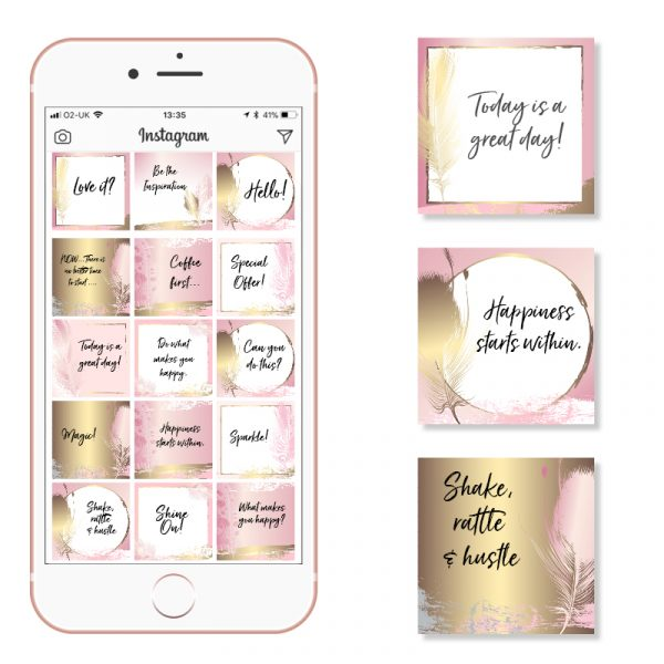 Social Media Templates Rose Gold