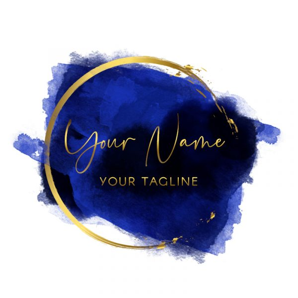 navy and gold watercolour logo